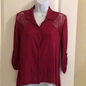 Wet Seal Cranberry Button Down w/Lace Shirt